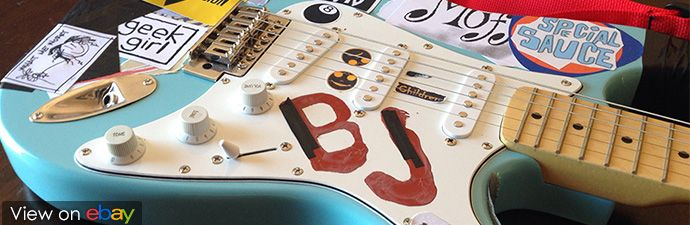 "Charity Auction: Replica Billie Joe ""Blue"" Guitar to benefit the Red Cross"