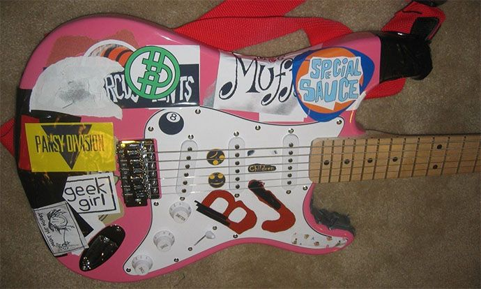 Featured Ebay Item Special Pink Blue Replica Guitar For Cancer Charity